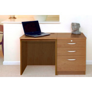 Small Office Desk Set With 2 Standard Drawers & 1 Filing Drawer (English Oak)