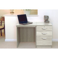 Small Office Desk Set With 2 Standard Drawers & 1 Filing Drawer (Grey Nebraska)