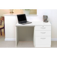 Small Office Desk Set With 2 Standard Drawers & 1 Filing Drawer (White)