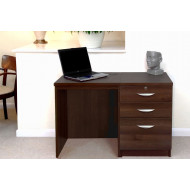 Small Office Desk Set With 2 Standard Drawers & 1 Filing Drawer (Walnut)
