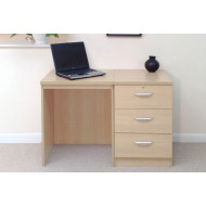 Small Office Desk Set With 3 Media Drawers (Beech)