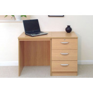 Small Office Desk Set With 3 Media Drawers (Classic Oak)