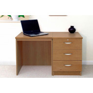 Small Office Desk Set With 3 Media Drawers (English Oak)