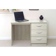 Small Office Desk Set With 3 Media Drawers (Grey Nebraska)