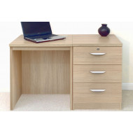Small Office Desk Set With 3 Media Drawers (Sandstone)