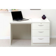 Small Office Desk Set With 3 Media Drawers (White)