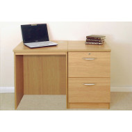 Small Office Desk Set With 2 Drawer Filing Cabinet (Classic Oak)