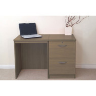 Small Office Desk Set With 2 Drawer Filing Cabinet (English Oak)