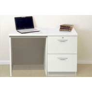 Small Office Desk Set With 2 Drawer Filing Cabinet (White)