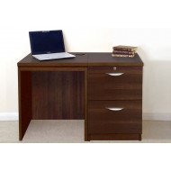 Small Office Desk Set With 2 Drawer Filing Cabinet (Walnut)