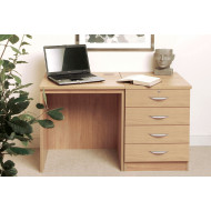 Small Office Desk Set With 4 Standard Drawers (Classic Oak)