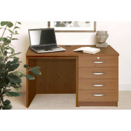 Small Office Desk Set With 4 Standard Drawers (English Oak)