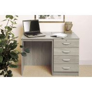 Small Office Desk Set With 4 Standard Drawers (Grey Nebraska)