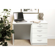 Small Office Desk Set With 4 Standard Drawers (White)