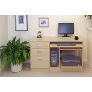 Small Office Desk Set With Computer Workstation & 3 Drawers (Beech)
