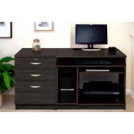 Small Office Desk Set With Computer Workstation & 3 Drawers (Black Havana)