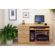 Small Office Desk Set With Computer Workstation & 3 Drawers (Classic Oak)