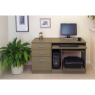 Small Office Desk Set With Computer Workstation & 3 Drawers (English Oak)