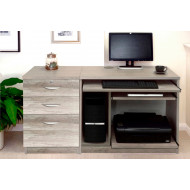 Small Office Desk Set With Computer Workstation & 3 Drawers (Grey Nebraska)
