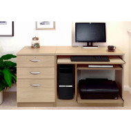Small Office Desk Set With Computer Workstation & 3 Drawers (Sandstone)