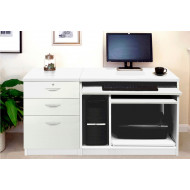 Small Office Desk Set With Computer Workstation & 3 Drawers (White)