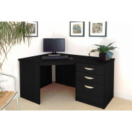 Small Office Corner Desk Set With 3 Drawers (Black Havana)