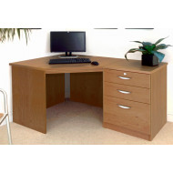 Small Office Corner Desk Set With 3 Drawers (English Oak)
