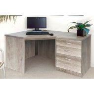 Small Office Corner Desk Set With 3 Drawers (Grey Nebraska)