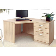 Small Office Corner Desk Set With 3 Drawers (Sandstone)
