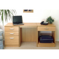 Small Office Desk Set With 3+1 Drawers & Printer Shelf