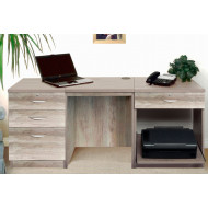 Small Office Desk Set With 3+1 Drawers & Printer Shelf (Grey Nebraska)