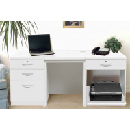 Small Office Desk Set With 3+1 Drawers & Printer Shelf (White)