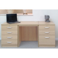 Small Office Desk Set With 4+3 Drawers (Beech)