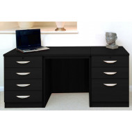 Small Office Desk Set With 4+3 Drawers (Black Havana)