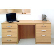 Small Office Desk Set With 4+3 Drawers (Classic Oak)