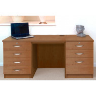 Small Office Desk Set With 4+3 Drawers (English Oak)