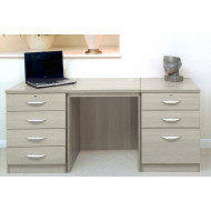 Small Office Desk Set With 4+3 Drawers (Grey Nebraska)