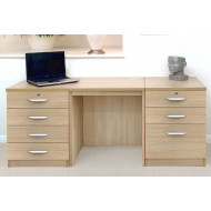 Small Office Desk Set With 4+3 Drawers (Sandstone)