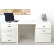 Small Office Desk Set With 4+3 Drawers (White)