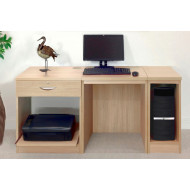 Small Office Desk Set With Single Drawer, Printer Shelf & CPU Unit (Sandstone)