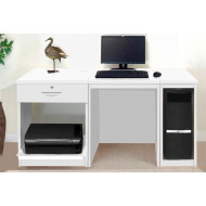Small Office Desk Set With Single Drawer, Printer Shelf & CPU Unit (White)