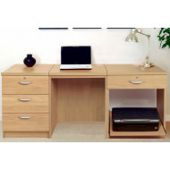 Small Office Desk Set With 3 Media Drawers, 1 Standard Drawer & Printer Shelf (Classic Oak)