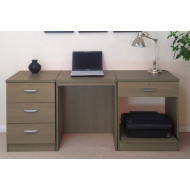 Small Office Desk Set With 3 Media Drawers, 1 Standard Drawer & Printer Shelf (English Oak)