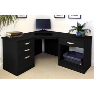 Small Office Corner Desk Set With 3+1 Drawers & Printer Shelf (Black Havana)