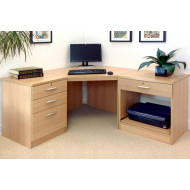Small Office Corner Desk Set With 3+1 Drawers & Printer Shelf (Classic Oak)