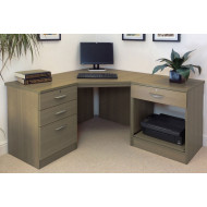 Small Office Corner Desk Set With 3+1 Drawers & Printer Shelf (English Oak)