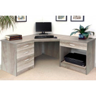Small Office Corner Desk Set With 3+1 Drawers & Printer Shelf (Grey Nebraska)