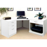 Small Office Corner Desk Set With 3+1 Drawers & Printer Shelf (White)