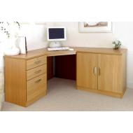 Small Office Corner Desk Set With 3 Drawers & Cupboard (Classic Oak)