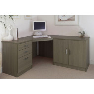 Small Office Corner Desk Set With 3 Drawers & Cupboard (English Oak)